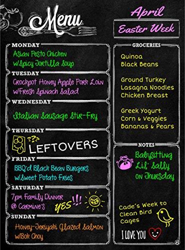 Dry Erase Magnetic Weekly Chalkboard Menu Meal Planner