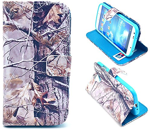Galaxy S4 Case - Trees Camo Flip Wallet Credit ID Card Slot Holder Phone Case With Stand --Retail Package W Screen Protector --Winter