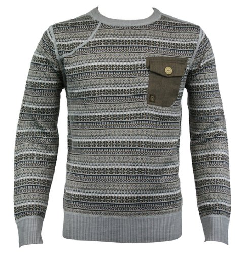 Duck and Cover 120119 Glyn Mens Knit Jumper AW12 Light Grey Marl XL
