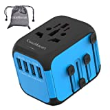 Cococart Universal Travel Adapter, All-in-one Worldwide Travel Charger Travel Socket, International Power Wall Charger AC Plug Adaptor with 4 USB Ports Multi-Nation Travel Accessories (Color: Blue)