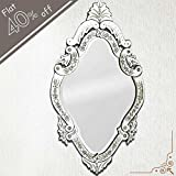 IndianShelf Handmade Decorative Vintage New Design Clear Glass Wood And Iron Oval Venetian Mirror 46 Inches X...