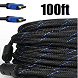 CableVantage PREMIUM HDMI CABLE 100FT For TV HDTV 3D DVD PS4 Xbox One XBOX LCD HD TV 1080P v1.4 High Speed Braided Nylon HDMI Cable White Ethernet & Audio Return,PS3/PS4,Xbox360