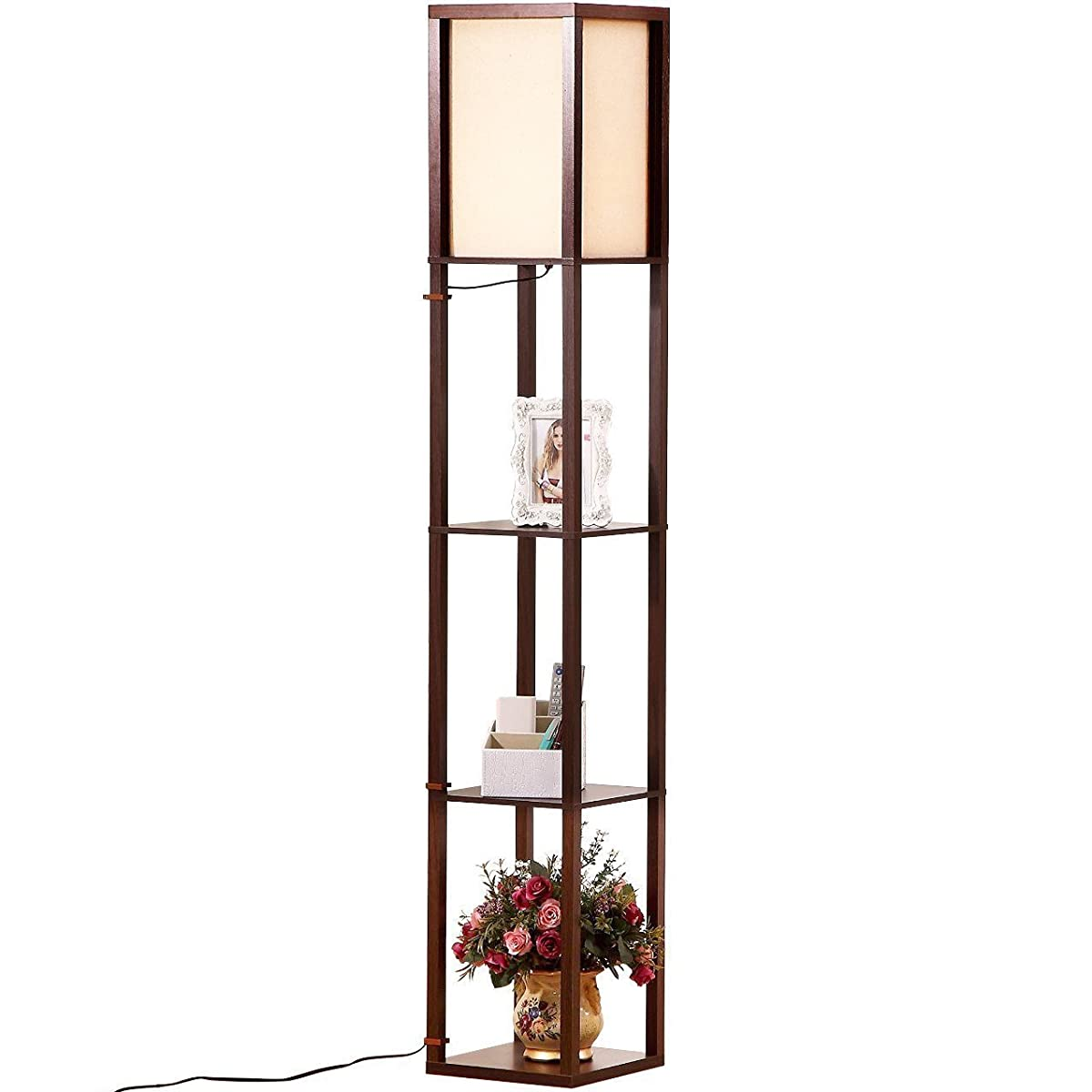 Brightech   Maxwell LED Shelf Floor Lamp U2013 Modern Asian Style Standing Lamp  With Soft Diffused Uplight White ...