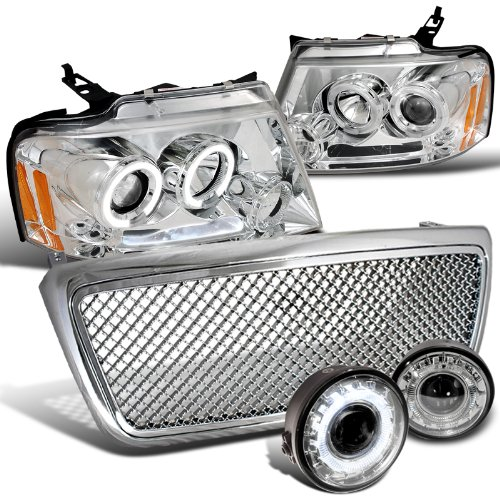 Chrome Led Projector Headlights Fog Bumper Lamps Mesh Abs Grille