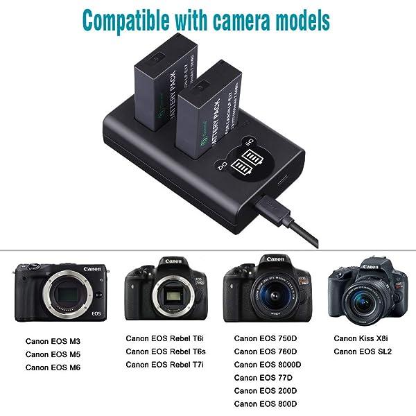 GONINE LP-E17 PAQUETE DE BATERÍA DE 2 Y CARGADOR USB ACTUALIZADO CON PANTALLA LCD,  para Canon LP-E17, LC-E17, LC-E17C, Canon Rebel SL2 SL3, T6i, T6s, T7i, EOS M5, M6, 750D, 760D, 8000D , KISS X8i Cámaras.