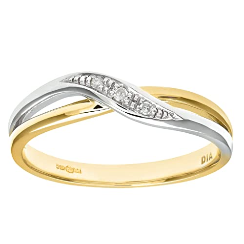 Naava Ladies 9ct Yellow And White Gold Diamond Crossover Ring