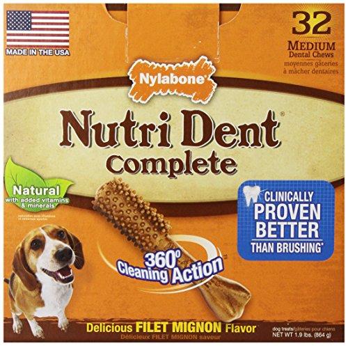 Nylabone Nutri Dent Filet Mignon 32 Count Dental Chews For Adult Dogs, Medium Pantry Pack