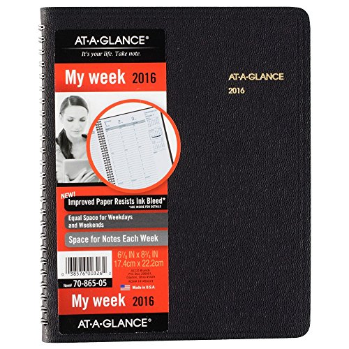 AT-A-GLANCE Weekly Appointment Book 2016, 6-7/8 x 8-3/4 Inches, Black (70-865-05)