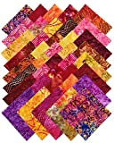 """Moda OVER THE RAINBOW BATIKS RED Charm Pack 5"""" Fabric Squares Laundry Basket Quilts 41012PP"""