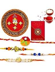 Ethnic Rakhi Fashionable And Stylish Rajasthani Colorful Floral Pattern Mauli Thread And Beads Rakhi And Traditional... - B01IIMCL4O
