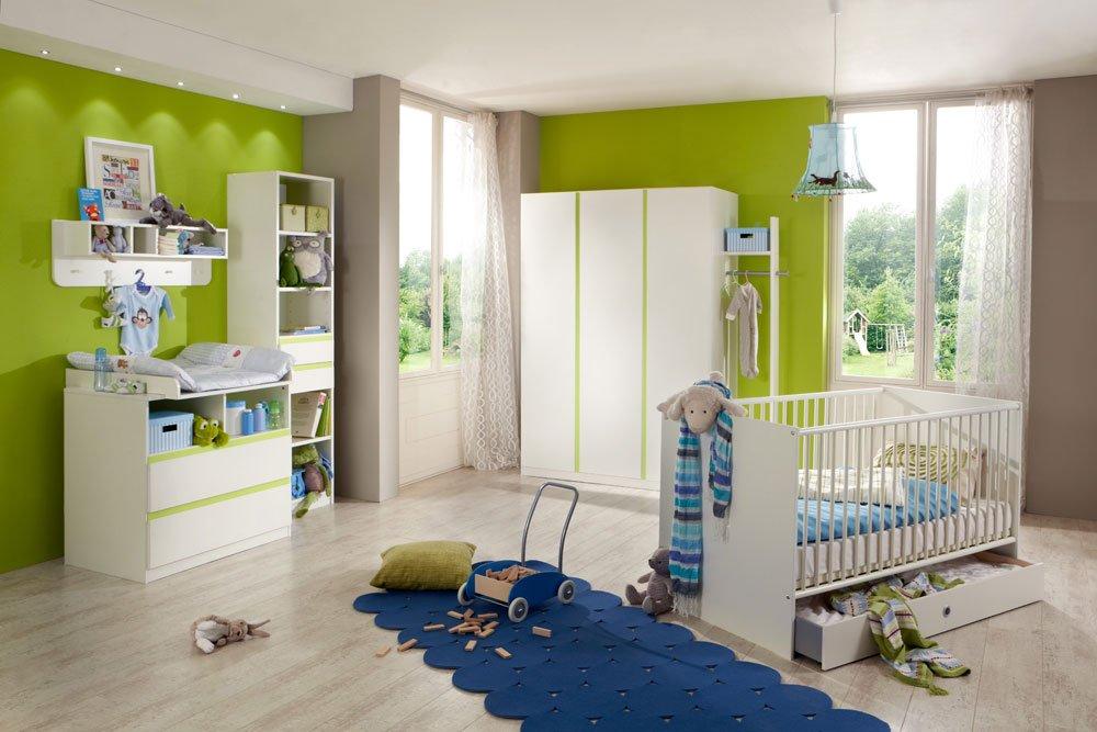 4-tlg. Babyzimmer in Alpinweiß und Abs. in Apfelgrün, Kleiderschrank Breite: 135 cm, Babybett 70 x 140 cm cm, Wickelkommode mit Aufsatz Breite: 90 cm