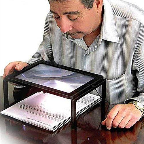 Voiture pkio détaillée lecture Hands Free Loupe 3X pour grands-parents avec lumière LED Loupe rectangulaire Hands Free fonctionnant sur batterie