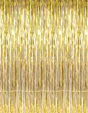 GOER 3.2 ft x 9.8 ft Metallic Tinsel Foil Fringe Curtains Party Photo Backdrop Wedding Decor