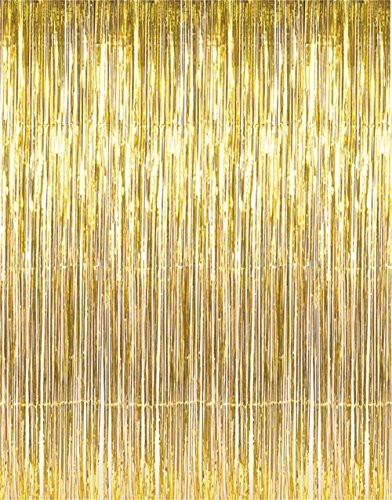 GOER 3.2 ft x 9.8 ft Metallic Tinsel Foil Fringe Curtains for Party Photo Backdrop Wedding Decor (Gold,3 packs) (Gold Streamer Backdrop compare prices)