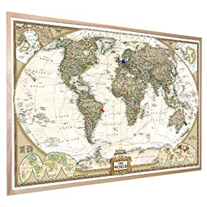 "National Geographic Antique World Pinboard Map Wood Framed with Flag Pins (36"" x 24"")"