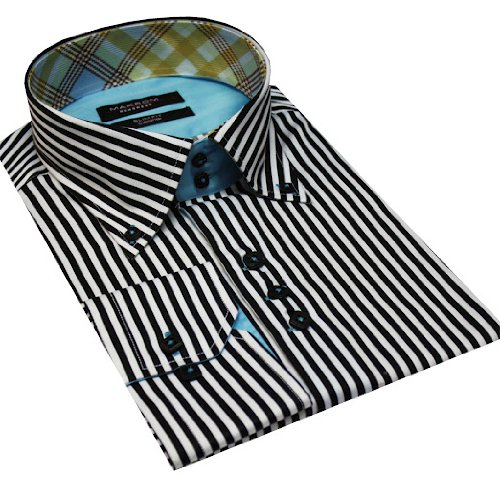 Italian Design High Collar Button Down Men Formal Casual Shirts Black Stripe