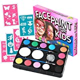 Face Paint Kit for Kids (47 Pieces) 12 Color Palette: 30 Stencils, 2 Brushes, 2 Sponges, 1 Glitter. Best Quality Professional Face Painting Party Set. Safe Non-Toxic, Boys & Girls. Free Online Guide
