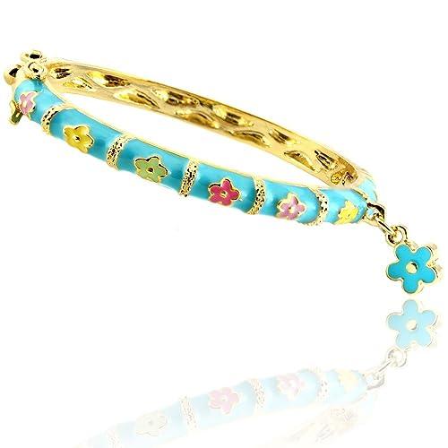 18K Gold Overlay Children's Enamel Flower Bangle Bracelet with Bonus Dangle Flower Charm- Pink