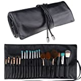 Makeup Brush Rolling Case Pouch Holder Cosmetic Bag Organizer Travel Portable 18 Pockets Cosmetics Brushes Black Leather Case (Color: Black)