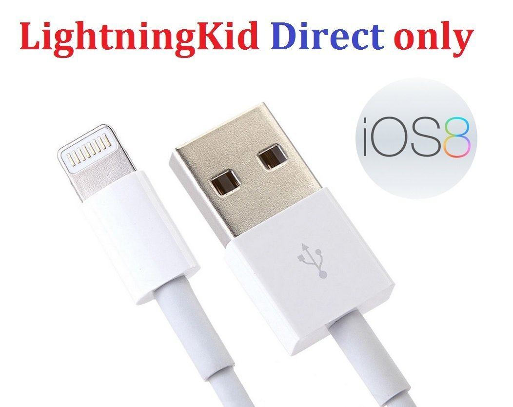 LightningKid® iOS 8 certified Lightning cable for Apple iPhone 6 iPhone 5 5s iPad Lightning Certified USB Charger Cable Data Sync White 1M (1 meter) - iOS 8 Certified Compatible