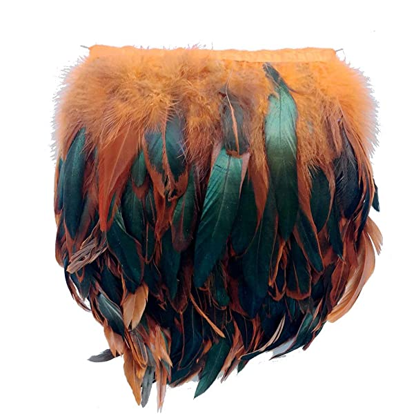 red Sowder Rooster Hackle Feather Fringe Trim 5-7 in Width Pack of 5 Yards
