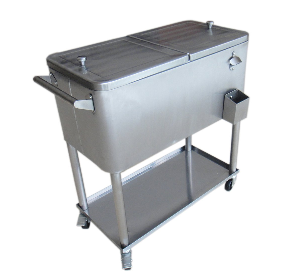Permasteel PS-206-SS2 Stainless Steel Patio Cooler with Bottom Tray, 80-Quart