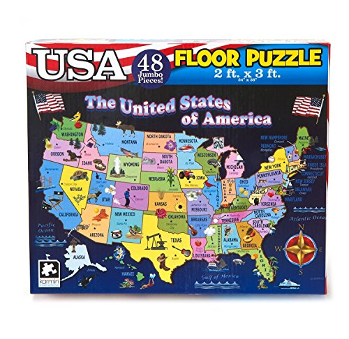 Educational USA Floor Map 48 Piece Floor Puzzle Measures 24 x 36 Inches Filled With Interesting And Exciting Information A bout All The States