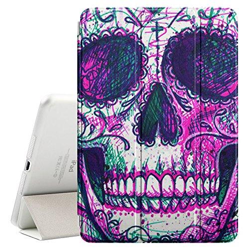 YOYOcovers [ FOR iPad Mini 2 / 3 / 4 ] Smart Cover con funzione del basamento di sonno - Skull Skeleton Ink Purple Tattoo