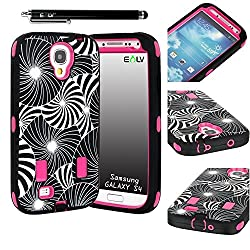 E-LV Unique Design High Impact Hybrid Armor Defender Case Combo for Samsung Galaxy S4 i9500 with 1 Clear Screen Protector, 1 Black Stylus and E-LV Microfiber Digital Cleaner (Flower)