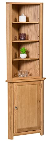 Waverly Oak Small Corner Display Cabinet in Light Oak Finish | Storage Cupboard with Shelf | Solid Wooden Unit