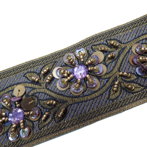 Hand Beaded Purple Sequin Stone Ribbon Trim 1 Yard