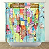 Shower Curtain Artistic Designer from DiaNoche Designs by Arist Marley Ungaro Unique Cool Fun Funky Stylish Decorative Home Decor and Bathroom Ideas - United States MAP