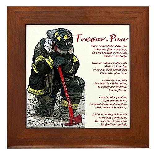 CafePress - Firefighter Prayer - Framed Tile, Decorative Tile Wall Hanging (Firefighter Vintage compare prices)