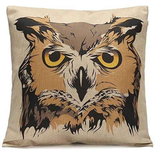 Owl Throw Pillow Covers : CCTUSGSH Animal Owl Cotton Throw Pillow Case Cushion Cover 18 X 18 Inches One Side from CCTUSGSH ...