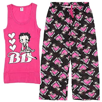Betty Boop Pink and Black Capri Pajamas for Women XL
