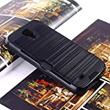 Bracevor Dual Layer Card Slot Shimmer Back Case Cover for Samsung Galaxy S4 I9500 - Jet Black
