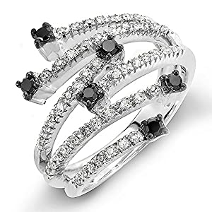 0.48 Carat (ctw) 14k White Gold Round Black & White Diamond Ladies Cocktail Right Hand Ring 1/2 CT (Size 7)