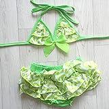 Traje de baño niña 1A 8años, modelo Zig Zag verde neón 1/2años, 3/4años, 5/6años, 7/8años verde verde Talla:5/6 ans