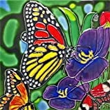Continental Art Center BD-2013 8 by 8-Inch Three Butterflies with Purple Flowers Ceramic Art Tile