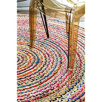 nuLOOM Multicolor Aleen Braided Cotton/Jute Oval Rug, 7 Feet by 9 Feet