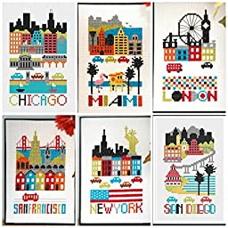 Famous Cities Landscapes in Cross Stitch