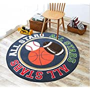 "Baby Boy Sport Area Rug 39"" Round Kids Sports Area Rug"