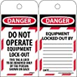 LOTAG11ST100 Polytag National Marker Tags, Lockout, Danger Do Not Operate Equipment Lock-Out, 6 Inches x 3 Inches, Polytag, Box of 100