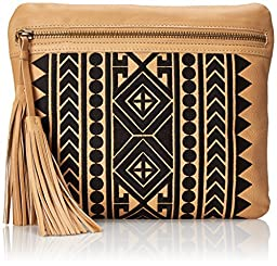 Cynthia Vincent Brit Clutch, Natural/Black, One Size
