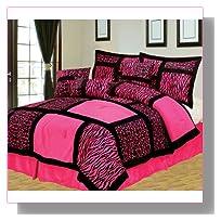 7-Piece Queen Giraffe/Zebra Pink and Black Micro Fur Comforter Set