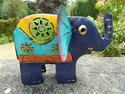 Elephant Tea light Candle Holder Metal Elephant Table Garden Lantern - Blue Elephant Tealight