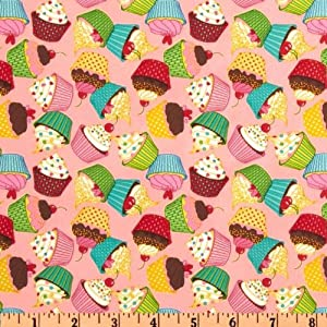 64'' Wide Babyville Boutique PUL Cupcakes Pink/Multi Fabric By The Yard