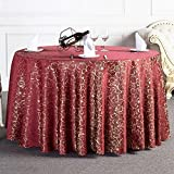 Tablecloth Bulk, Tablecloth Decorative Luxury Tablecloth Vintage Round Table Cover Wedding Party Restaurant Banquet, Material Polyester Cloth (240CM, Wine Red)