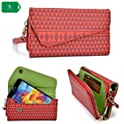 Crossbody clutch cell phone holder in a red tribal design universal fit Samsung I929 Galaxy S II Duos