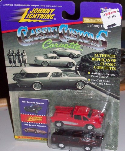 JOHNNY LIGHTNING CLASSIC CUSTOMS CORVETTE- 1957 ROADSTER & 1980 AEROVETTE